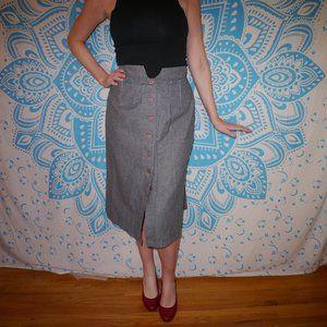 Vintage Skirt Pinup Retro Grey Medium M Pencil